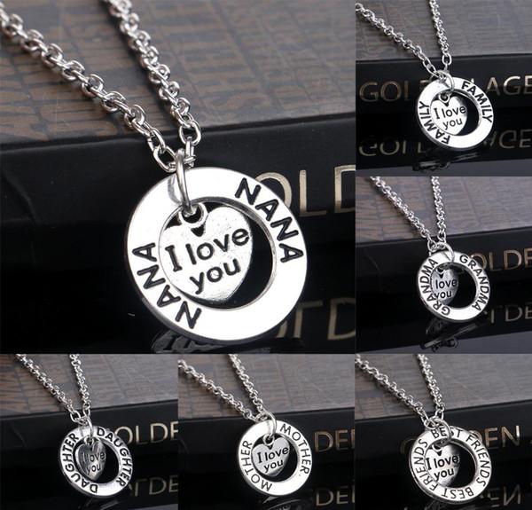 20 pcs membre de la famille je t'aime grand-mère bravo maman meilleur ami nana mère pendentif coeur collier colliers pour femmes bijoux y2369