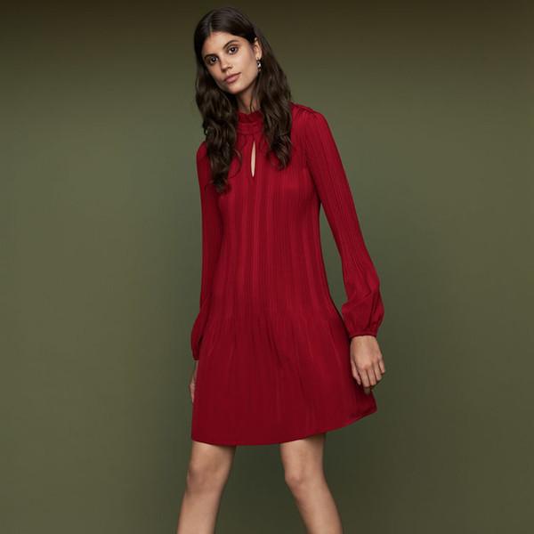 2018 French Red Rockally Pure Color Long Sleeves Crewneck Lady Pleat Knee-Length Dresses Women Dress MBL8905 Ma*e Fall Autumn