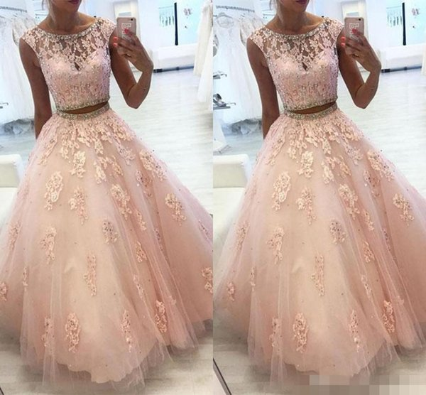 Light Pink Two Pieces Quinceanera Prom Dresses Jewel Sheer Neck Ball Gown Tulle Applique Lace Crystal Ruched Long Cheap Evening Formal Dress