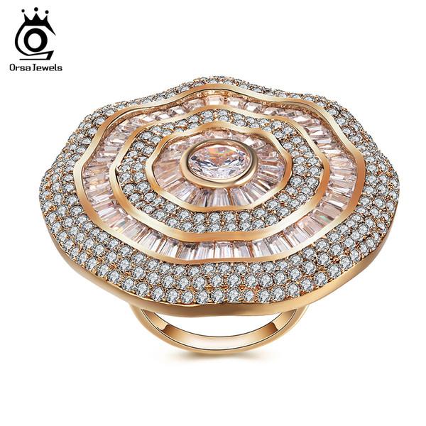 ORSA JEWELS Большие Роскошные Кольца Для Женщин Кубический Циркон Великолепный Дизайн в Полном размере CZ Модные женские Кольца Женские Украшения OMR04