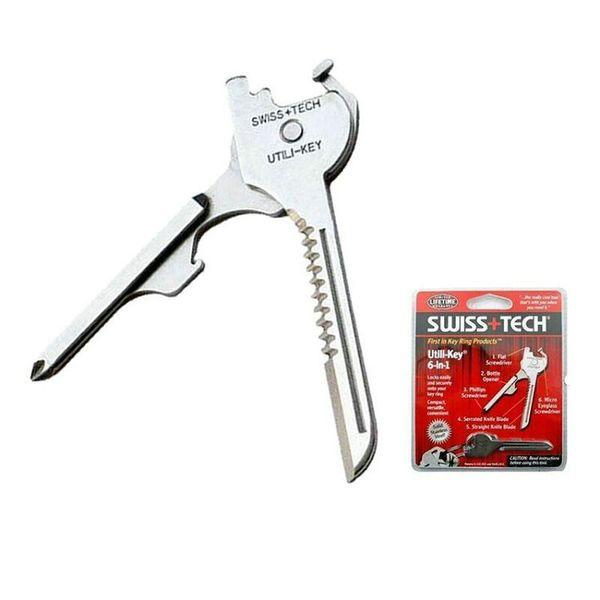 Новый швейцарский + TECH 6 в 1 Utili ключ мини многофункциональный брелок плоская отвертка открывалка для бутылок отвертка Филлипс карманный нож EDC инструмент