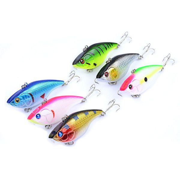6 Pcs/lot 2018 Fishing Lure VIB 6# Hook freshwater crankbait 18g 7.5cm 3D Eyes Vibes Shallow Sinking Vibra Jerk Fishing Lures Vibe bait