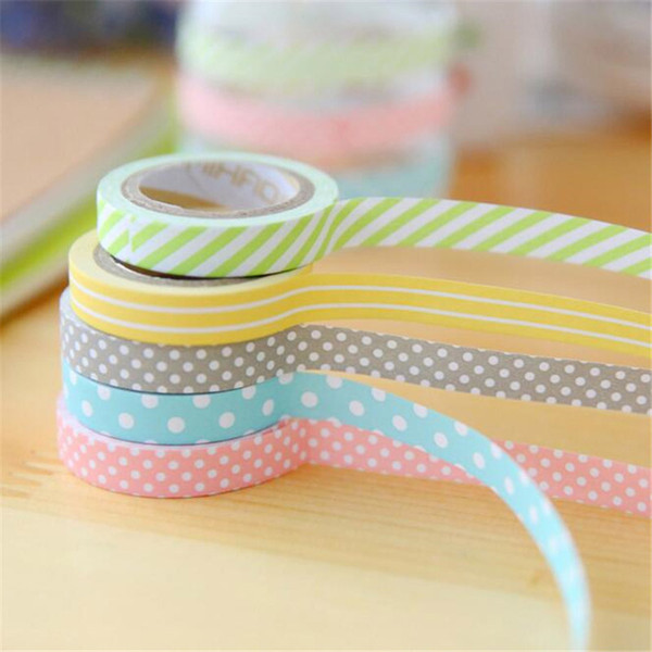 best selling 5 pcs lot DIY Cute Kawaii Candy Color Washi Tape Lovely Dot Stripe Decorative Tape For Photo Album Free Shipping 2016