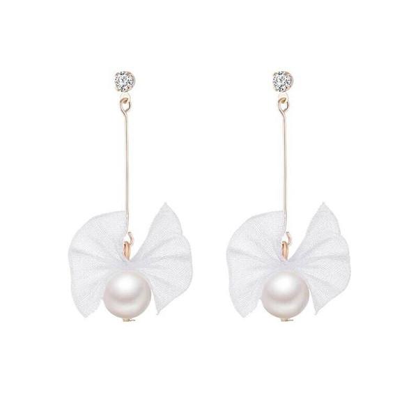South Korean Girl Heart Super Fairy Ribbon Bow Tie Earrings Simple Cut Long Pearl Zircon Stud Earrings.