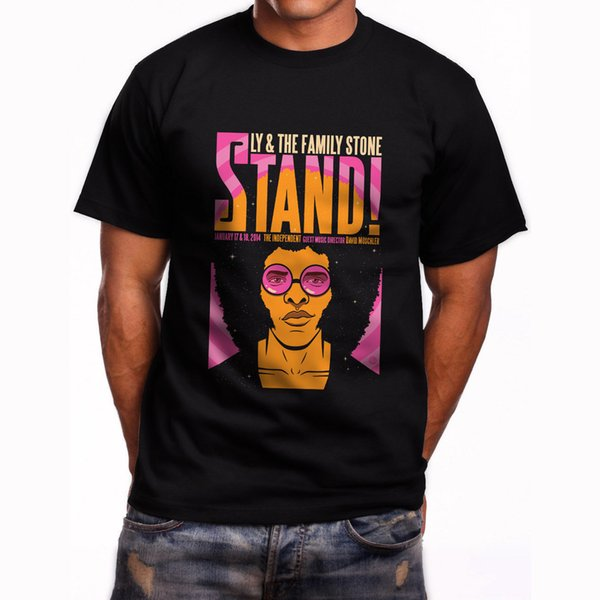 New Sly and the Family Stone Short Sleeve Men's Black T-Shirt Size S to 5XL Men Short Sleeve T-Shirt Casual Man Tees Mens Tops