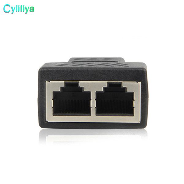 top popular High Quality New 1 To 2 Ways RJ45 LAN Ethernet Network Cable Female Splitter Connector Adapter 2021