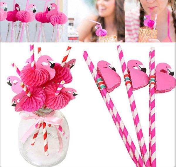 50pcs 3d Flamingo Paper Straws Christmas /Wedding /Pool Party Drinking Straws Birthday Party Decor Paper Drinking Straws