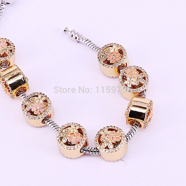 20Pcs Gift Jewelry Findings Micro Pave Zircon Enamel Flower Big Hole Charm Beads Fit European Charm Bracelets DIY Making
