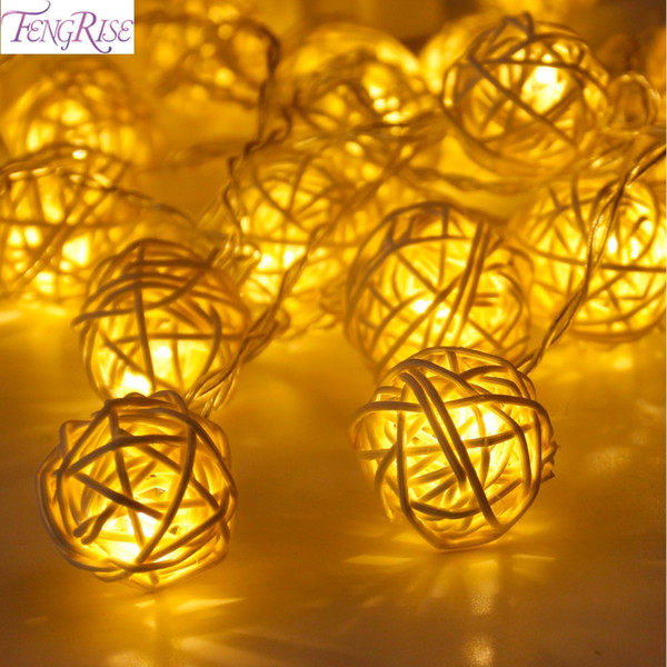 FENGRISE 20 Rattan Ball Led String Fairy Lights Christmas Tree Ornaments Xmas Decoration Warm White LED Lights Home Garden Decor Y18102609
