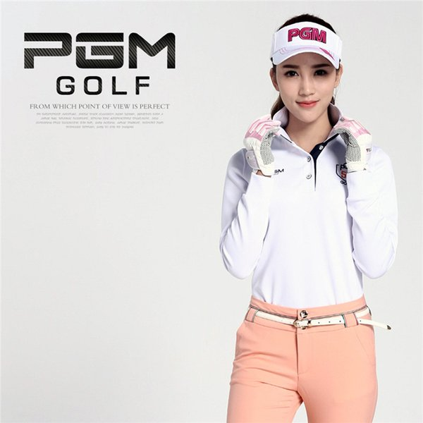 best selling PGM Brand Women Golf Shirt Durable Elastic Outdoor Sports Polo Quick-Drying Long Sleeve Golf Shirt Women and Lady Size for S-XL