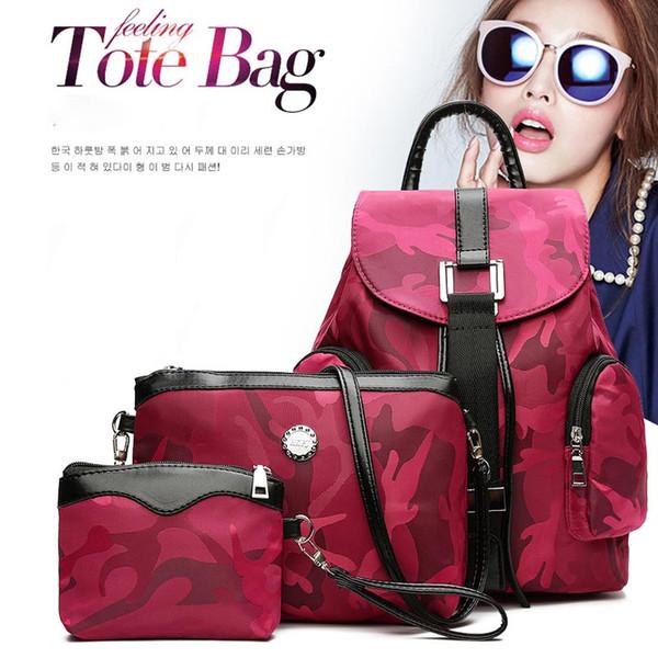 3 Pçs / set mulheres Camuflagem mochila mochilas Para Adolescentes Meninas 2018 new fashion hot sale Mulheres Bookbags à prova d 'água