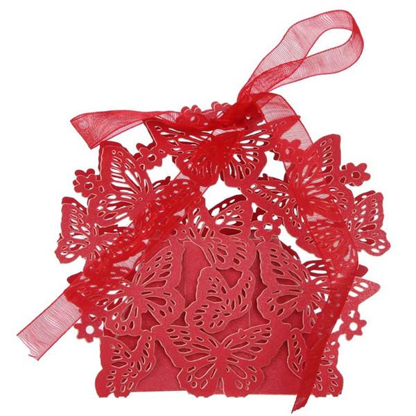 50 Adet / takım 3D Buerfly Şeker Kutusu Düğün Iyilik Dekor DIY Şeker Çerez Hediye Kutuları Düğün Parti Şeker Kutusu Ile Şerit