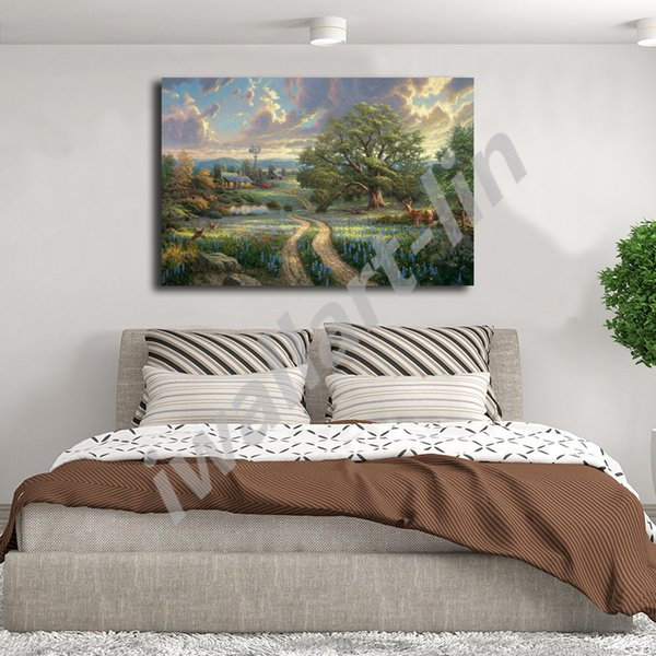Thomas Kinkade Country Village Life Poster Canvas Painting Oil Framed Wall Art Print Pictures For Living Room Home Decoracion