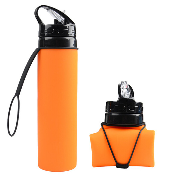 Portable collapsible silicone water bag new 600ml outdoor riding cup Customized advertising gift sports bottle Water Bottles