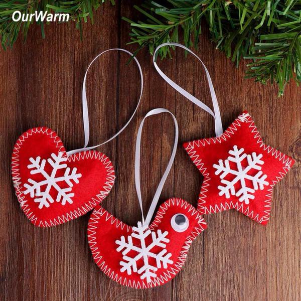 OurWarm 3pcs New Year Christmas Tree Decorations Felt Bird Heart Star Hanging Decor Handmade Christmas Pendant Drop Ornaments