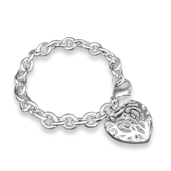925 Sterling Silver Hollow Heart Pendant Bracelets Stainless Steel Jewelry Mens Chain Bangles Luxury Jewelry Braccialetto as Gifts