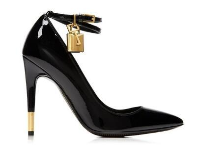 Nude White Patent Leather High Heels Shoes Metal Padlock Women Dress Shoes Sexy Pointed Toe Buckle Strap Women Pumps