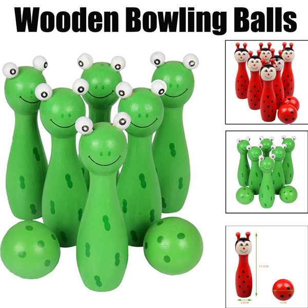 Kid Fun Toy Gift Anti-stress Children Boys Girl Adult Cartoon Wooden Bowling Balls Animals Outdoor Fun & Sports Game Toy