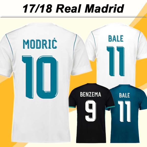 2017 2018 Real Madrid MODRIC Calcio Maglia MARCELO ISCO Home Uomo Tifosi di calcio di versione Camicie economico BALE Kroos maniche corte pullover di football