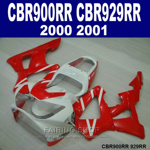 Carenados personalizados gratis para Honda CBR900RR CBR929 2000 2001 rojo blanco carenado kit CBR929RR00 01 CV44