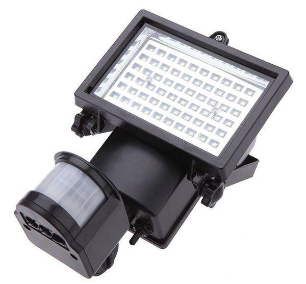 trasporto libero 60 LED Solar Floodlight lampade da parete per esterni giardino illuminazione LED Flood Security Garden Proiettare Paesaggio Prato Luce