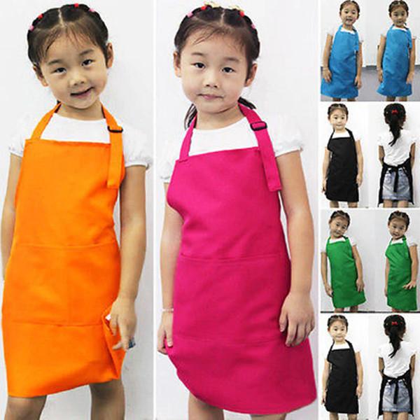 top popular new Kids Aprons Pocket Craft Cooking Baking Art Painting Kids Kitchen Dining Bib Children Aprons Kids Aprons 10 colors 30pcs 2020