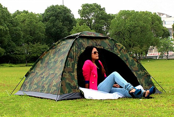Outdoor Portable Single Layer Camping Tent Wigwam Camouflage 2 Person Waterproof Lightweight Beach Fishing Hunting