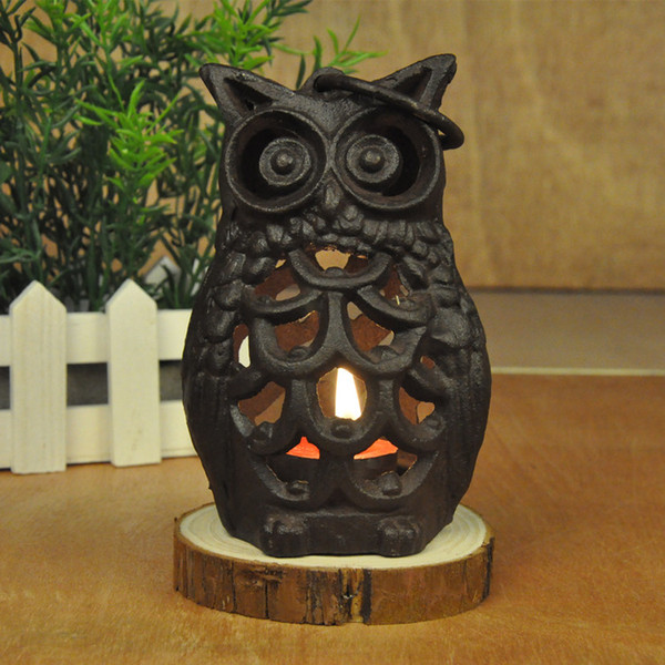 Vintage Cast Iron Hanging Lantern Metal Owl Candle Holder Home Garden Porch Courtyard Yard Decoration Tea Light Tealight Holder Animal Craft