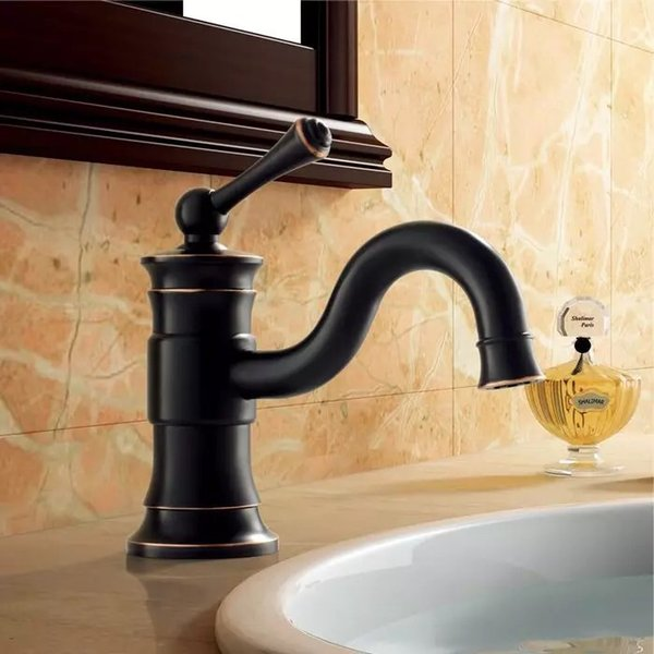 Antique Kitchen Faucets Brass Brushed Oil Rubbed Black Bathroom Single Handle Single Hole Sink Mixer Taps Hot And Cold Water