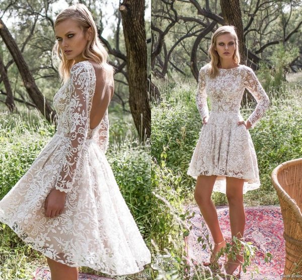 2018 Full Lace Short Wedding Dresses Sheer Long Sleeves Backless High Low Vestios De Novia A Line Country Bridal Gowns