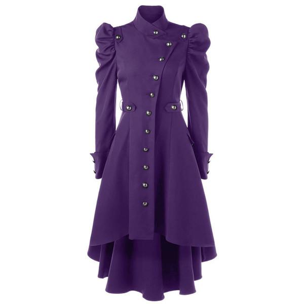Mulheres Gothic Coat Outono Inverno Longo Trincheira Casacos Blusão Preto Clássico Encolher Roxo Assimetria Europeu Do Vintage Sobretudo