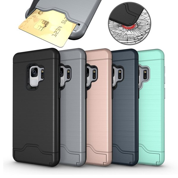 Card Slot Case For Iphone XR XS MAX 8 Plus Samsung S10 S9 Plus Armor Case Hard Shell Back Cover Kickstand Case OPP Bag