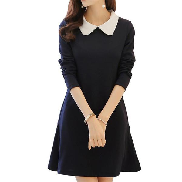 Propcm marca 2017 nuevas mujeres de moda vestido de manga larga de primavera Mini una línea linda chica coreana tallas grandes vestidos delgados de alta calidad