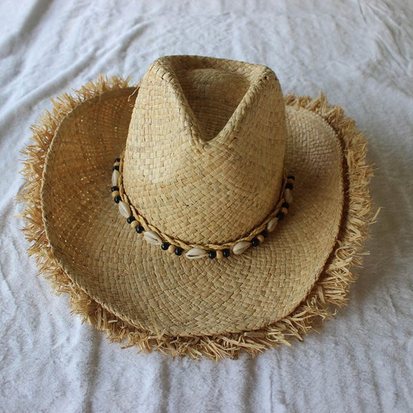 ef70d361e54 2018 Summer Men Raffia Jazz Hats Mens American Western Cowboys Straw Hat  Print Stars Beach Sun Caps for Men