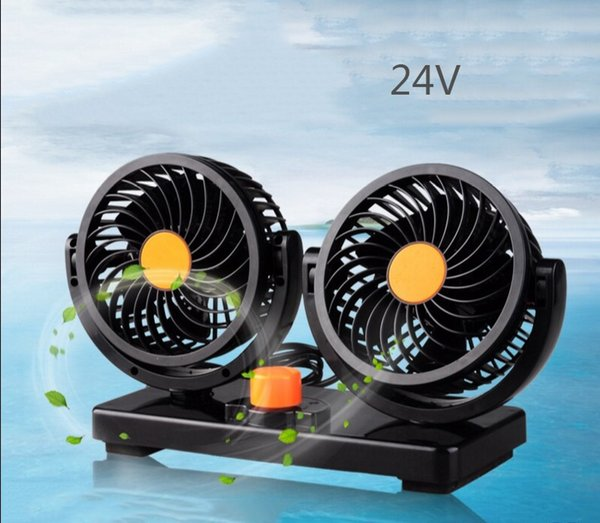 Fans Cooling Air Fan 12v 24v with Dual Heads 360 Degree Rotation Adjustable Design Powerful Electric Fan with 2 Rotatable Speed car