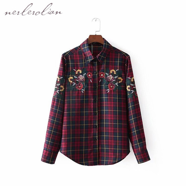 Nerlerolian Women Cotton Plaid Shirts Long Sleeve Turn-down Collar Floral Embroidery Casual Button Fly Spring Top Blouses LYZ