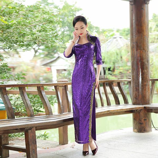 Dolicey autumn new evening dress, long sleeved dress, large size cheongsam dress