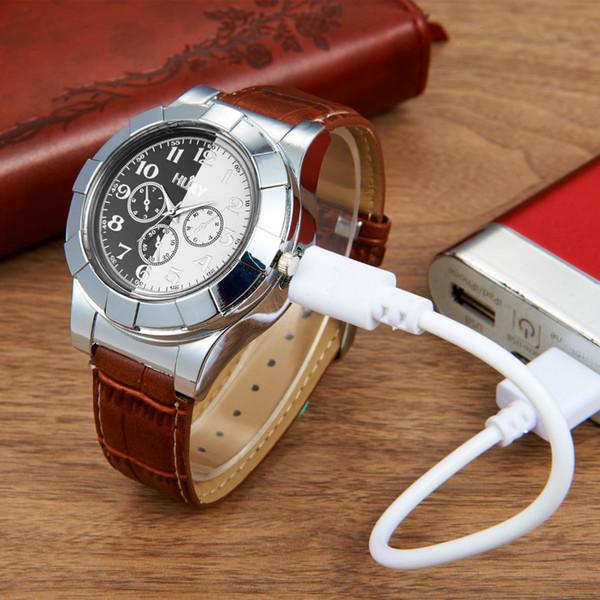 Военные USB беспламенного ветрозащитный прикуривателя часы мужчины электрический аккумуляторная USB часы зажигалки мужские наручные часы нет газа 40 Y1892107