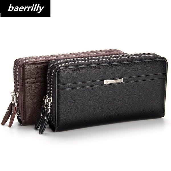 Famous Brand Purse Men Wallets With Coin Pocket Double Zipper Card Holder Male Wallet Long Large Business Men Purse Clutch Bag