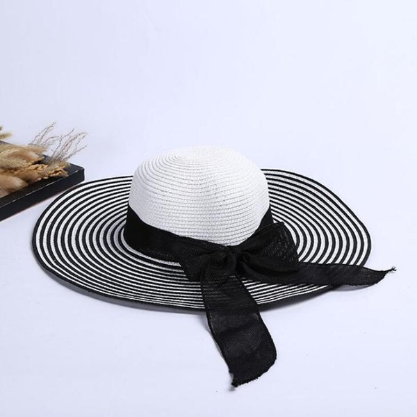 Navy Style Bow Tie Straw Hats Sun Protection floppy Beach hats fitted Beach Cap for Vogue ladies