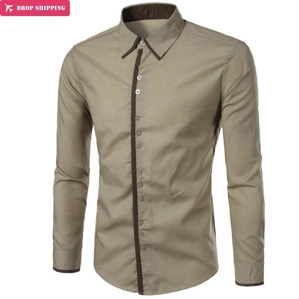 Brand 2018 Fashion Male Shirt Long-Sleeves Tops Three Buckle Design Simple Color Mens Dress Shirts Slim Men Shirt