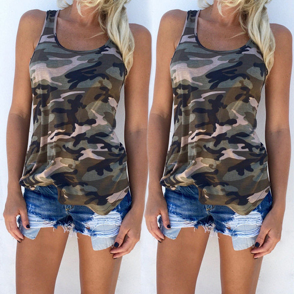 best selling S-5XL Fashion 2019 Women's Summer Tank Tops Camouflage Wild Round Neck Sleeveless Female Blouses Streetwear Casual Vest