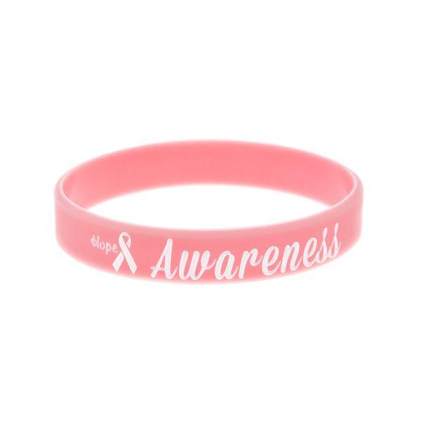 OneBandaHouse 50PCS/Lot Motivation Bracelet Hope Ribbon Breast Cancer Awareness Silicone Wristband Pink Fashion Arm Band