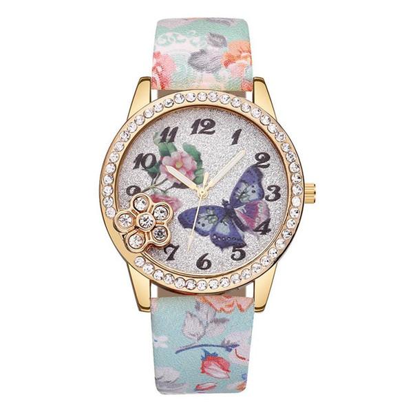 Womens Watch Leather Band Quartz Wrist Watch relogio masculino feminino Gift Fashion Butterfly Girls Ladies Bracelet Watches