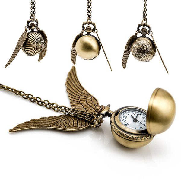 Harry Golden Snitch Montre de Poche Antique Bronze Aile Boule Pendentif Collier Chaînes Potter Bijoux de Mode Fans Cadeau