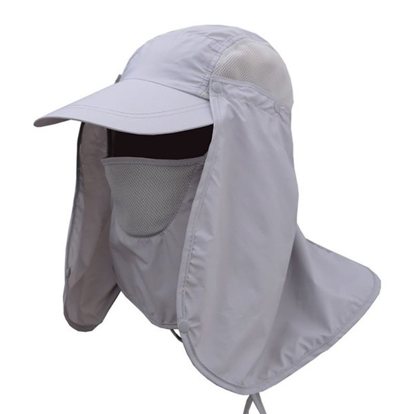 Wholesale free shipping Outdoor Sports Hiking Visor Hat UV Protection Face Neck Cover Fishing Sun Protect Cap Outdoor Protective Hat