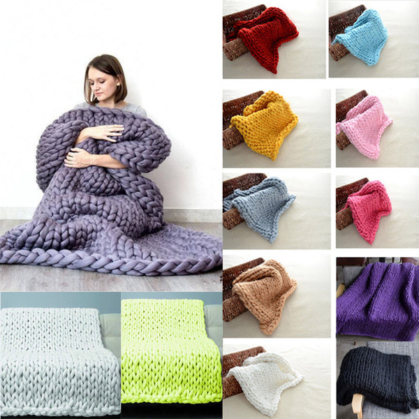 60*60cm Photography Knitted Props Blanket Handmade Weaving Crochet Linen Woolen Blankets Christmas Gifts 13 Colors TY7-127