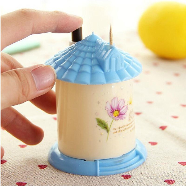 Wholesale- Top Selling 2016 New Free Shipping Automatic Toothpick Holder Pocket Fashion Small Portable House Shaped Box