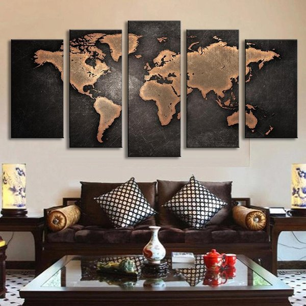 5 Panel Vintage World Map Canvas Painting Oil Painting Print On Canvas Home Decor Wall Art Wall Picture For Living Room Unframed Y18102209