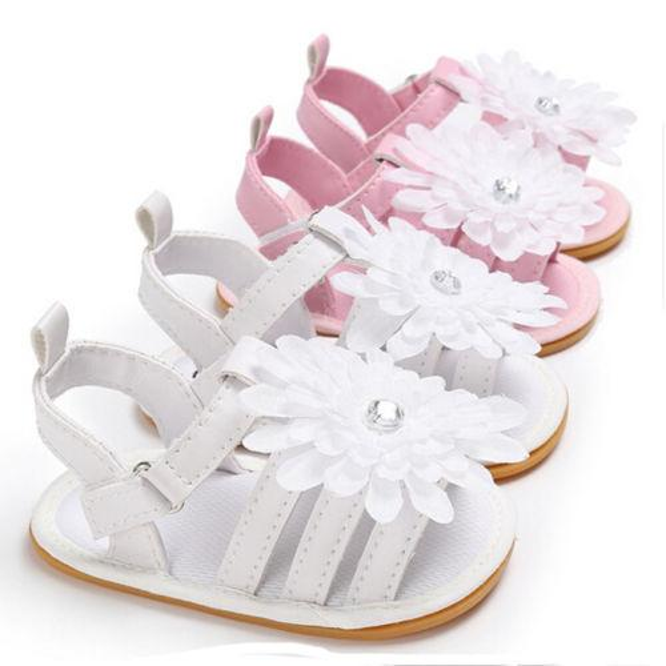 Baby Boys Girls Summer Sandals Flower Anti-Slip Flower Cute Crib Shoes Soft Sole Prewalkers 0-18M